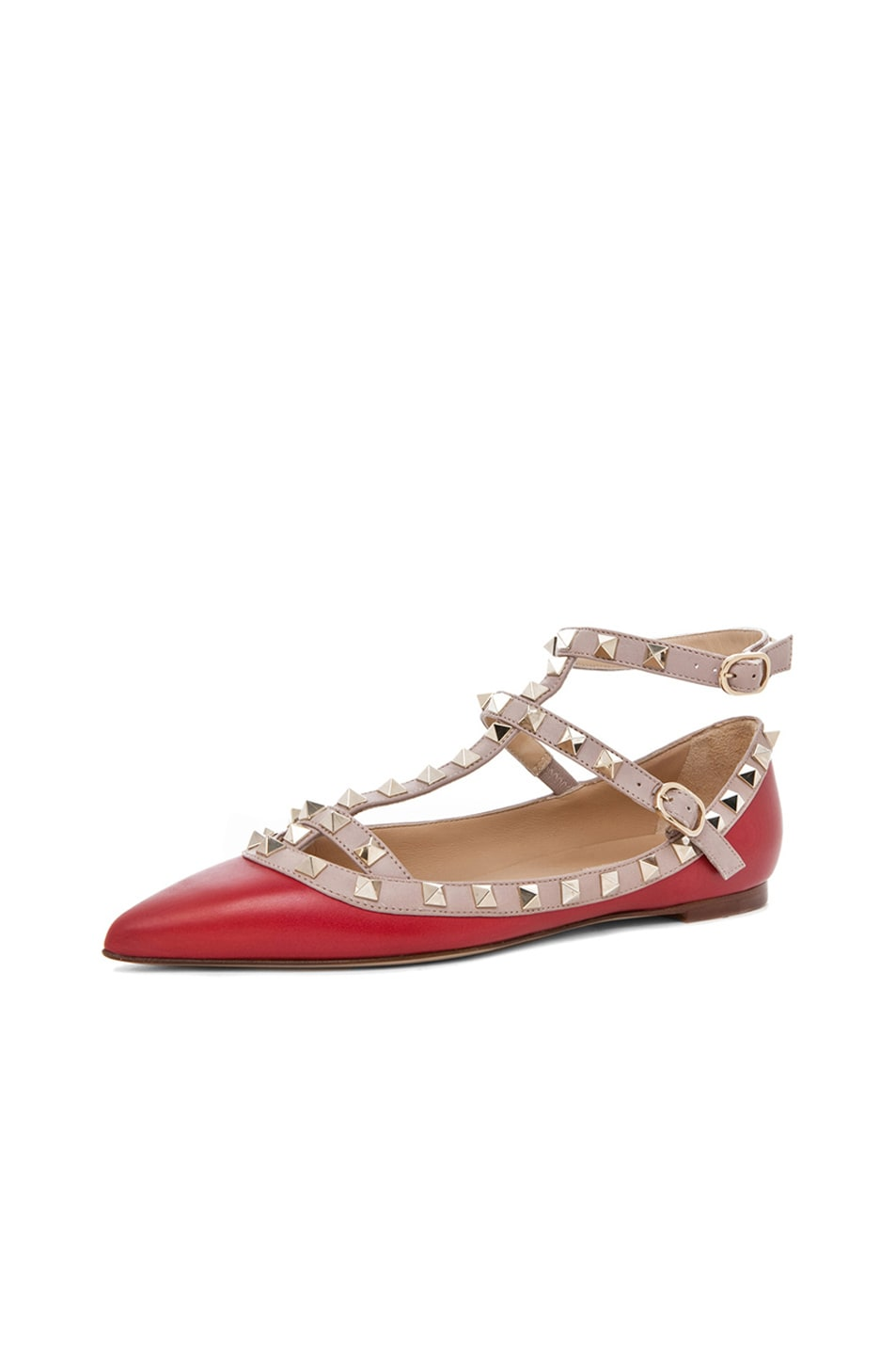 Image 2 of Valentino Rockstud Leather Cage Flats in Red