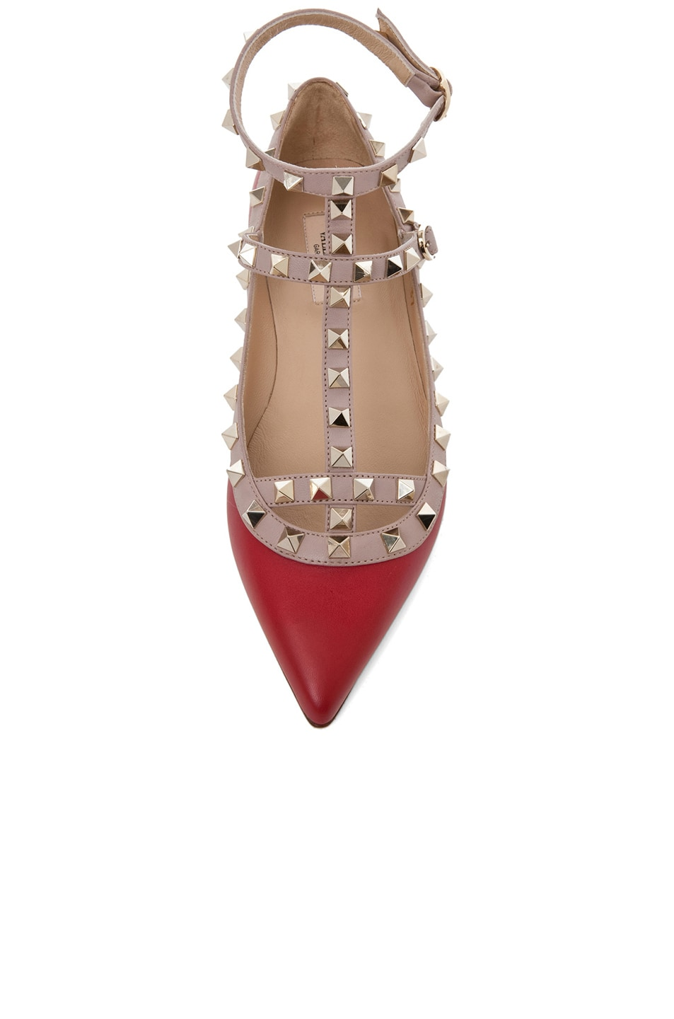 Image 4 of Valentino Rockstud Leather Cage Flats in Red