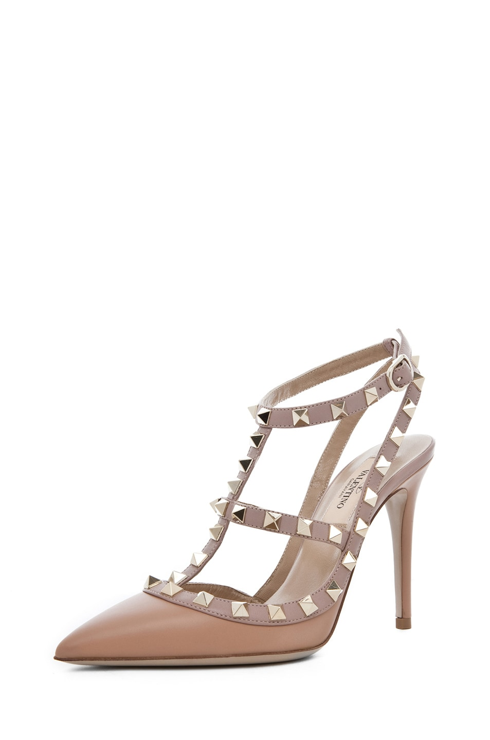 Image 2 of Valentino Rockstud Nappa Leather Sling Back T.100 in Hazelnut & Nude & Platinum