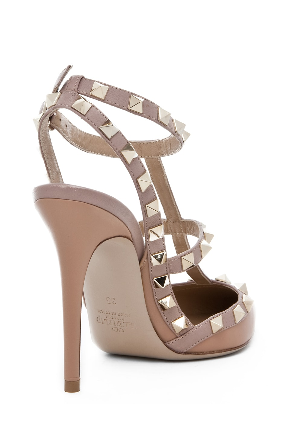 Image 3 of Valentino Rockstud Nappa Leather Sling Back T.100 in Hazelnut & Nude & Platinum