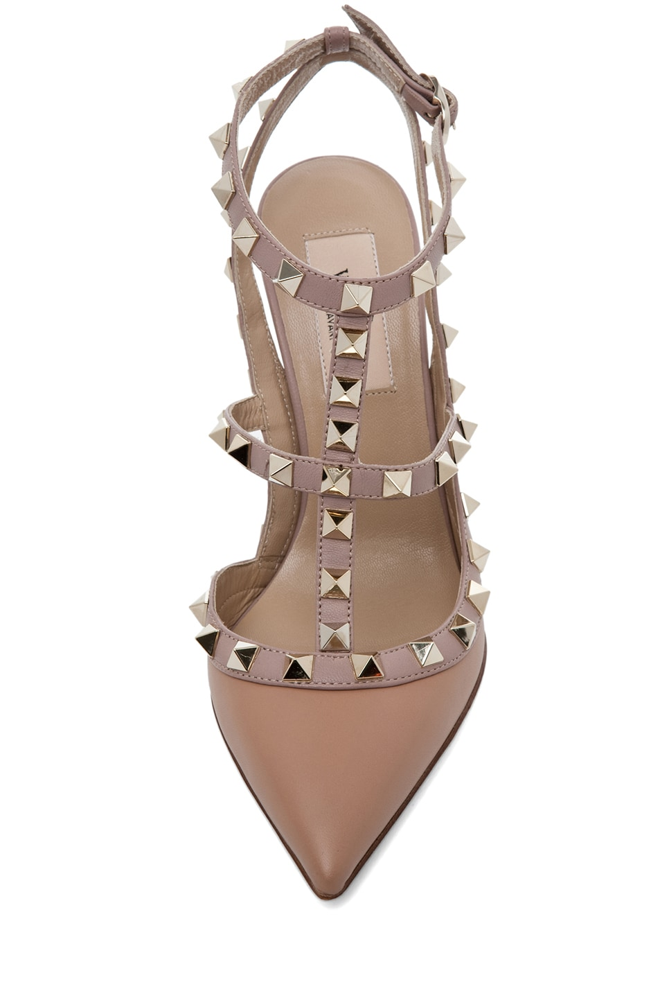 Image 4 of Valentino Rockstud Nappa Leather Sling Back T.100 in Hazelnut & Nude & Platinum
