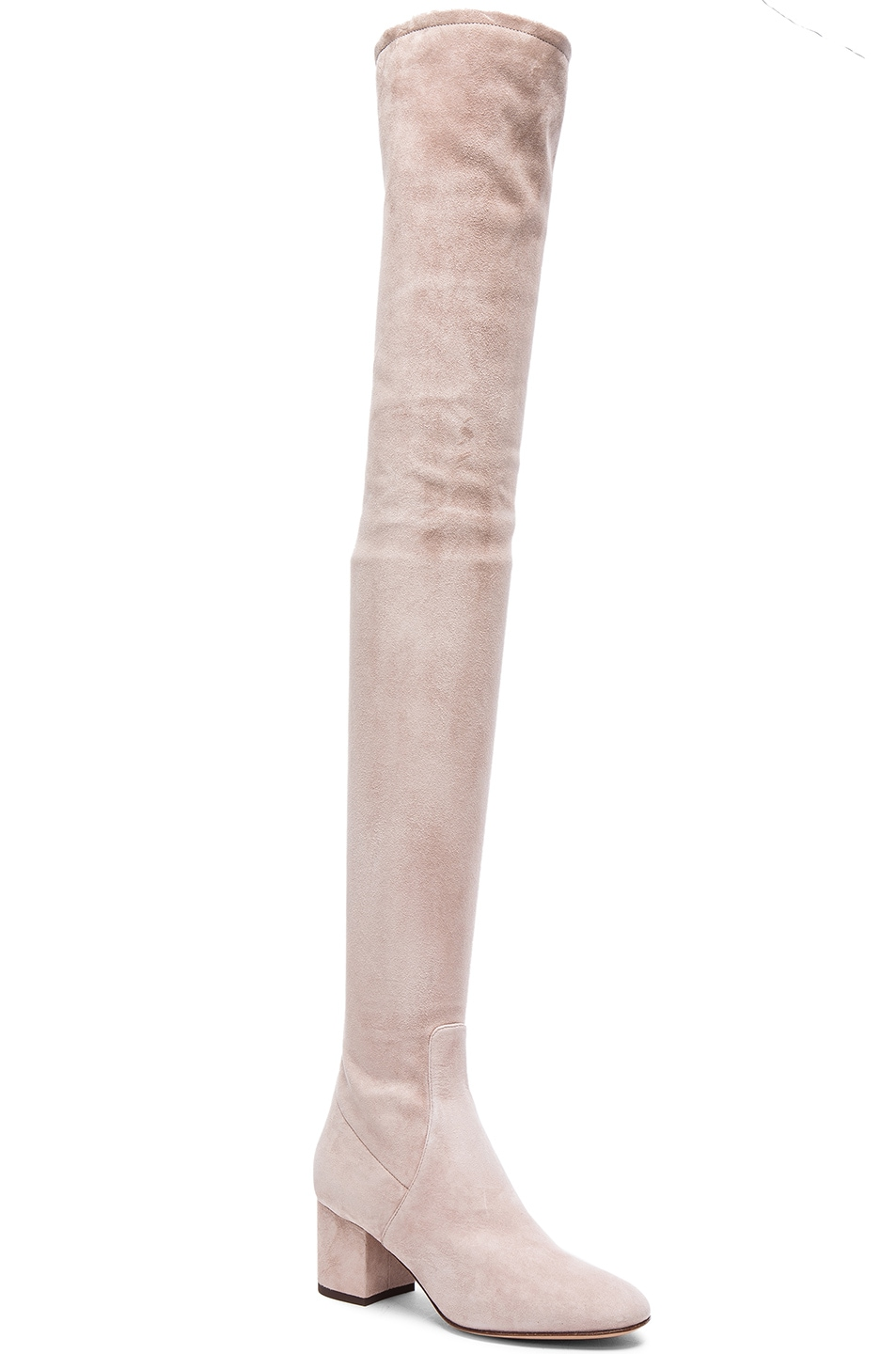 Image 2 of Valentino Suede Over The Knee Booties in Poudre