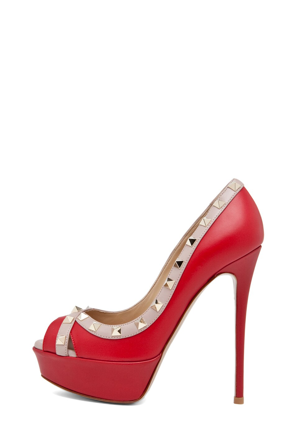 Image 1 of Valentino Rockstud Open Toe in Red