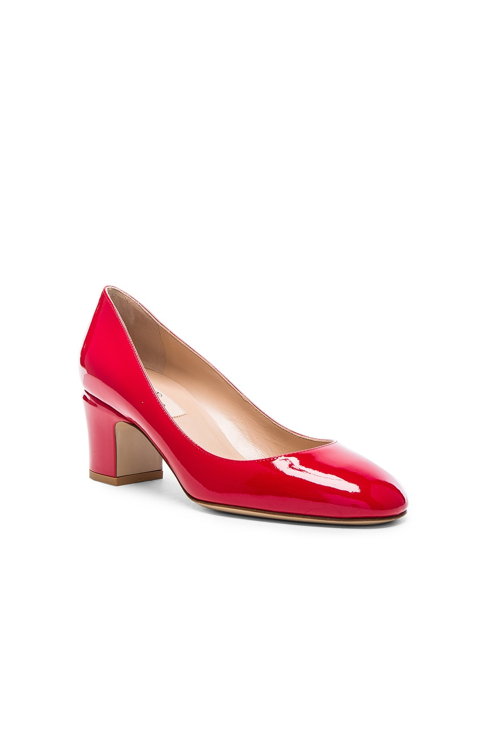 Image 2 of Valentino Patent Leather Tan-Go Pumps in Red