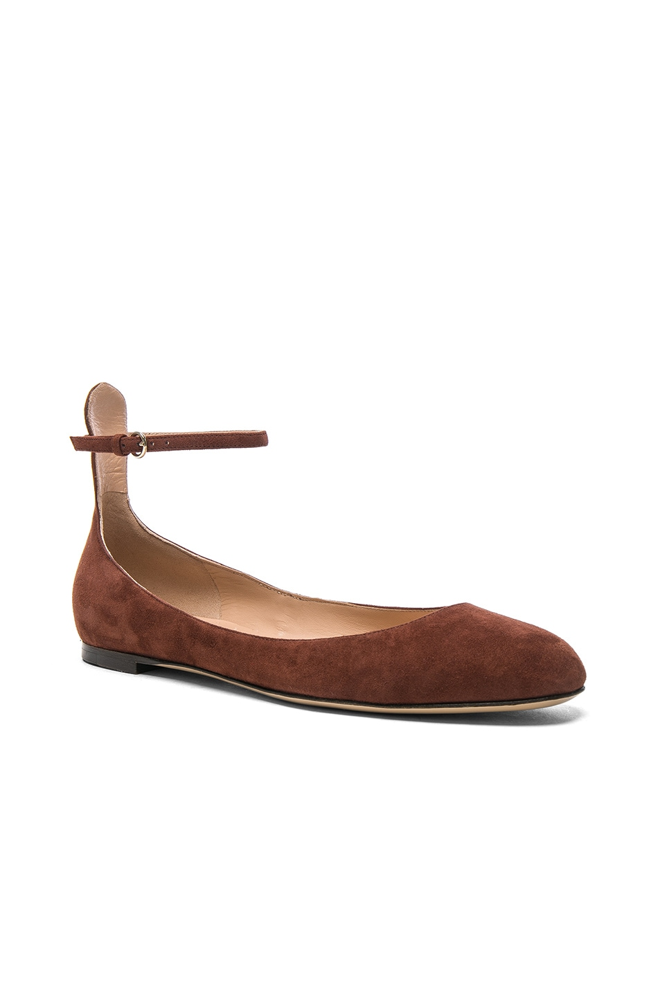 Image 2 of Valentino Suede Tan-Go Flats in Light Brown