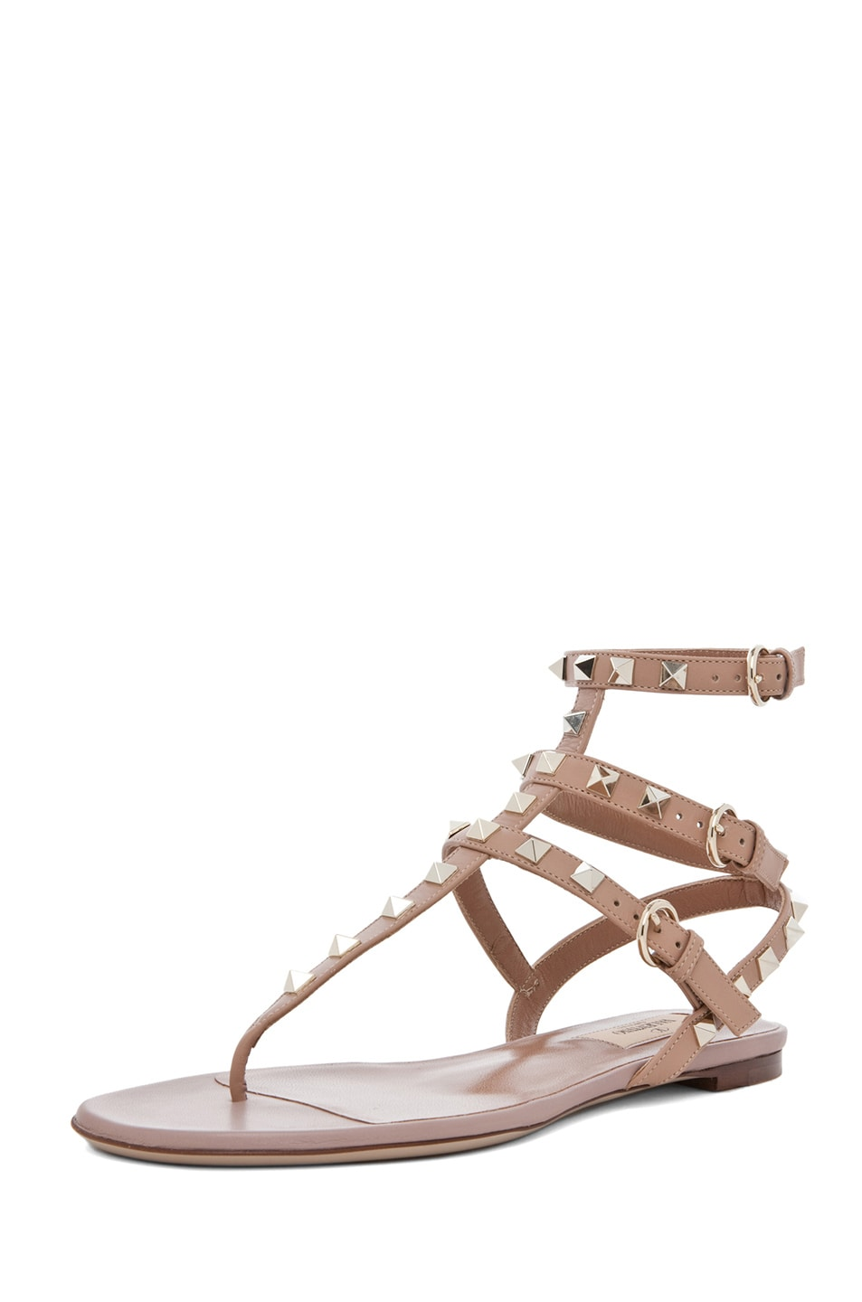 Image 2 of Valentino Rockstud Leather Gladiator Sandal T.05 in Soft Hazelnut & Nude & Platinum