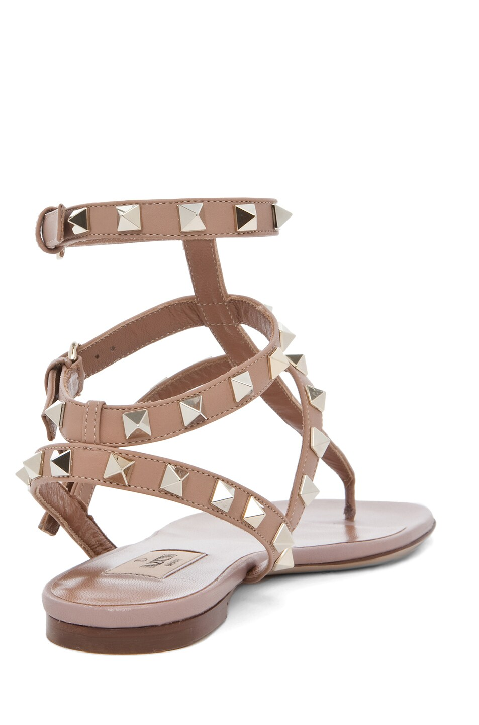 Image 3 of Valentino Rockstud Leather Gladiator Sandal T.05 in Soft Hazelnut & Nude & Platinum