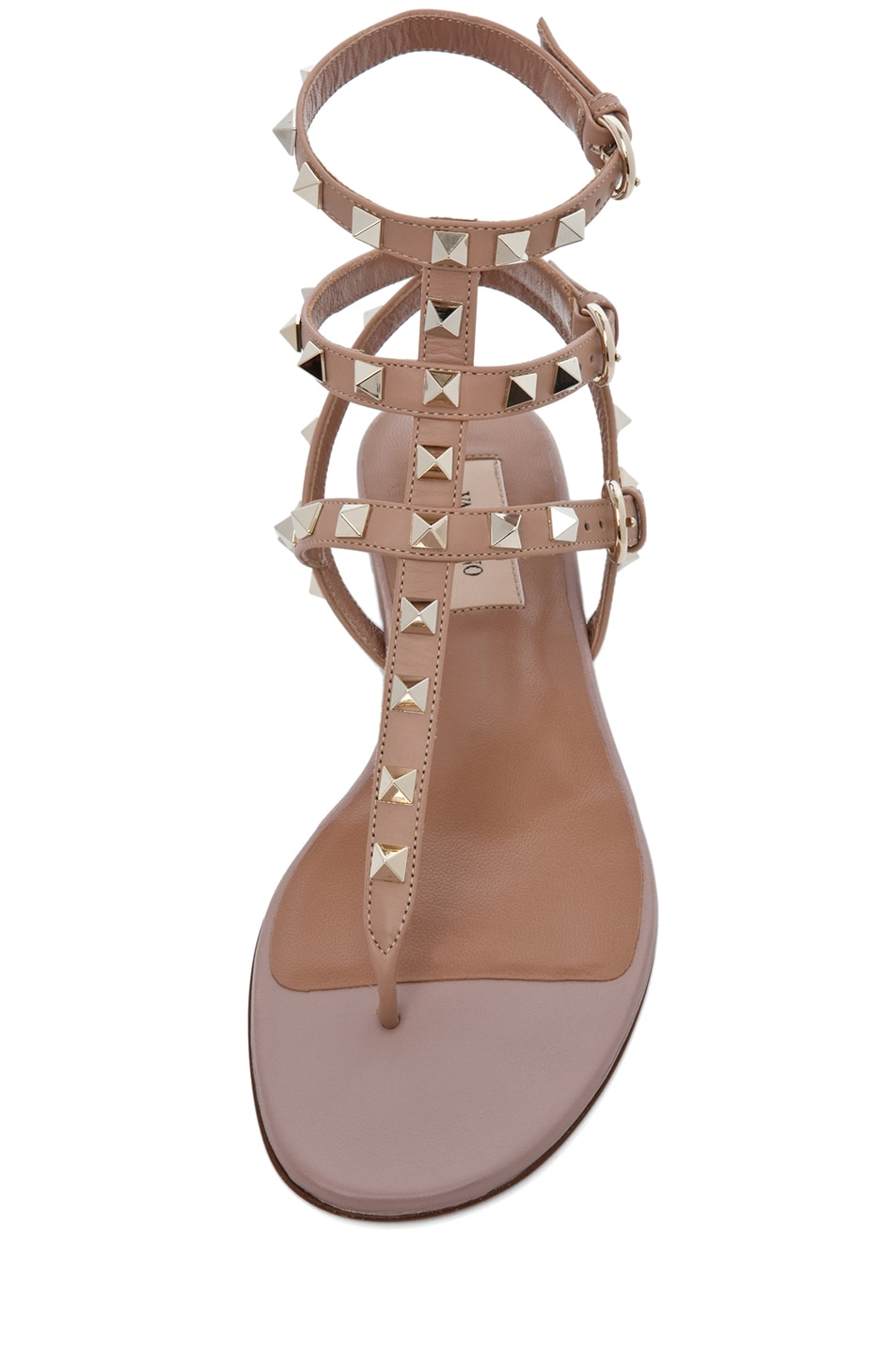 Image 4 of Valentino Rockstud Leather Gladiator Sandal T.05 in Soft Hazelnut & Nude & Platinum