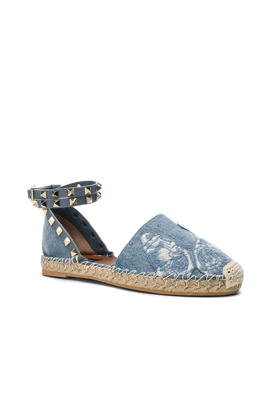 Image 2 of Valentino Embroidered Butterfly Denim Espadrilles in Light Denim