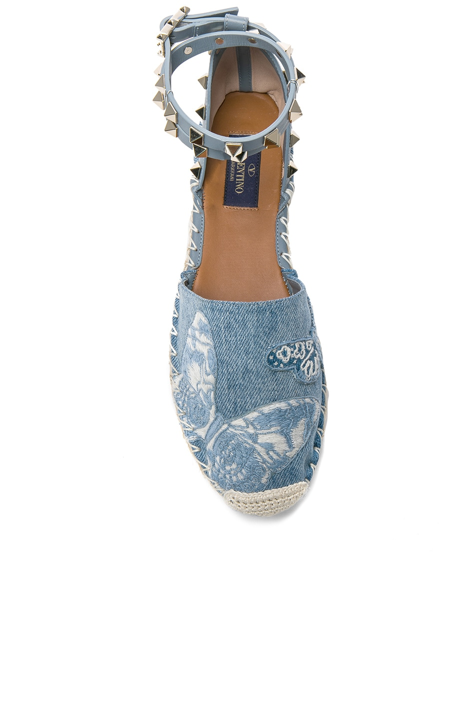 Image 4 of Valentino Embroidered Butterfly Denim Espadrilles in Light Denim