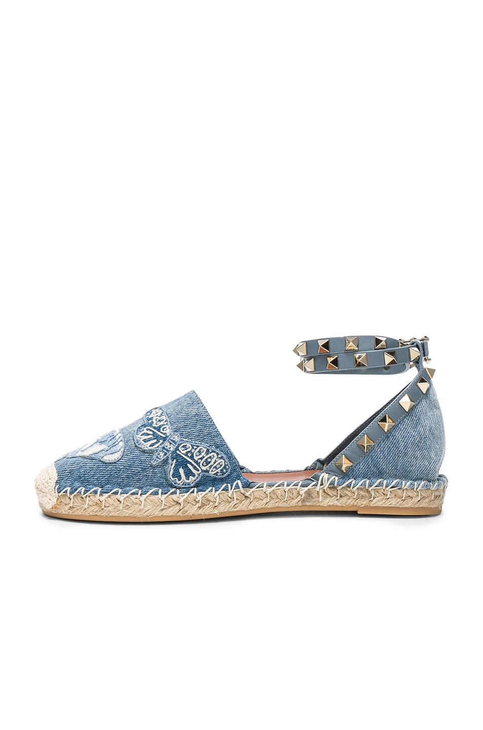 Image 5 of Valentino Embroidered Butterfly Denim Espadrilles in Light Denim