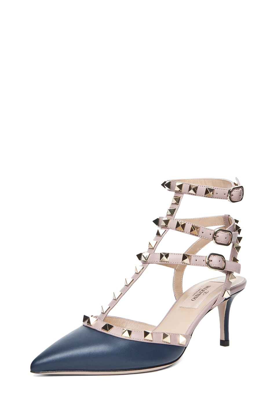 Image 2 of Valentino Rockstud Nappa Leather Slingback T.65 in Marine