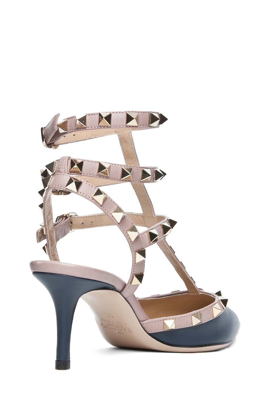Image 3 of Valentino Rockstud Nappa Leather Slingback T.65 in Marine