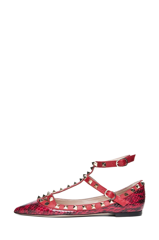 Image 1 of Valentino Rockstud  Printed Water Snakeskin Ballerina Flat in Rouge