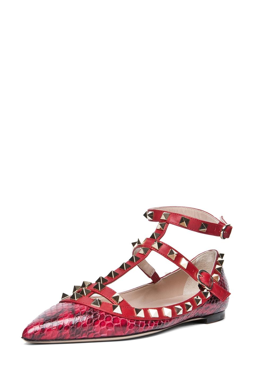 Image 2 of Valentino Rockstud  Printed Water Snakeskin Ballerina Flat in Rouge