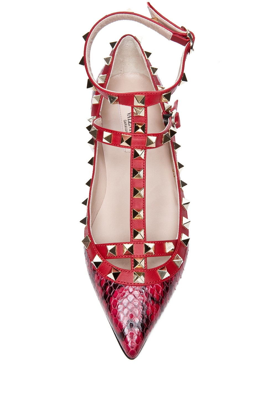 Image 4 of Valentino Rockstud  Printed Water Snakeskin Ballerina Flat in Rouge