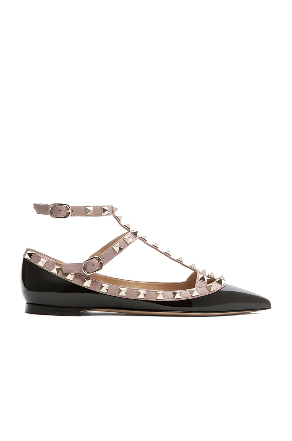 Image 1 of Valentino Rockstud Patent Cage Flats in Black & Nude