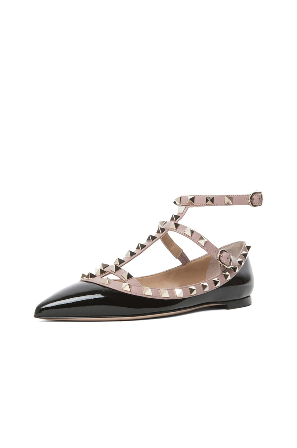 Image 2 of Valentino Rockstud Patent Cage Flats in Black & Nude