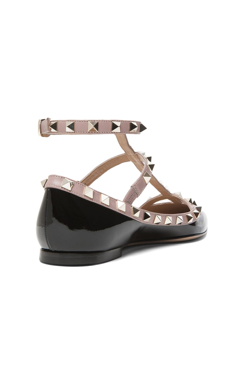 Image 3 of Valentino Rockstud Patent Cage Flats in Black & Nude