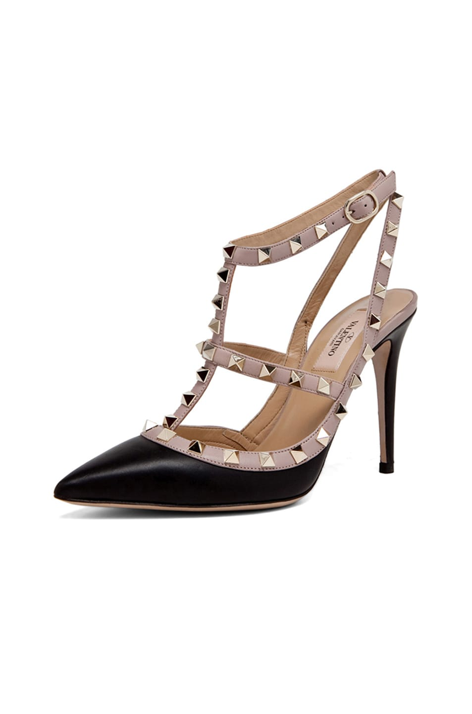 Image 2 of Valentino Rockstud Leather Slingbacks T.100 in Black