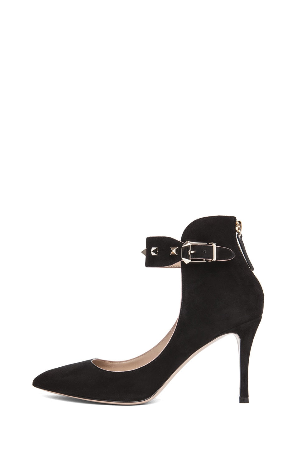 Image 1 of Valentino Rockstud Suede Ankle Strap Pump in Black Suede