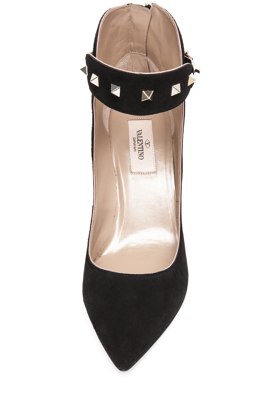 Image 4 of Valentino Rockstud Suede Ankle Strap Pump in Black Suede