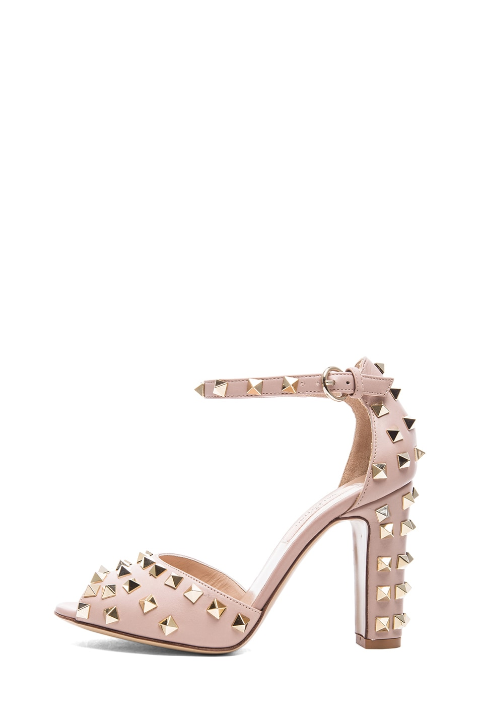 Image 1 of Valentino Rockstud Leather Sandals T.95 in Poudre