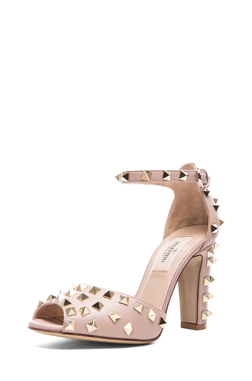 Image 2 of Valentino Rockstud Leather Sandals T.95 in Poudre