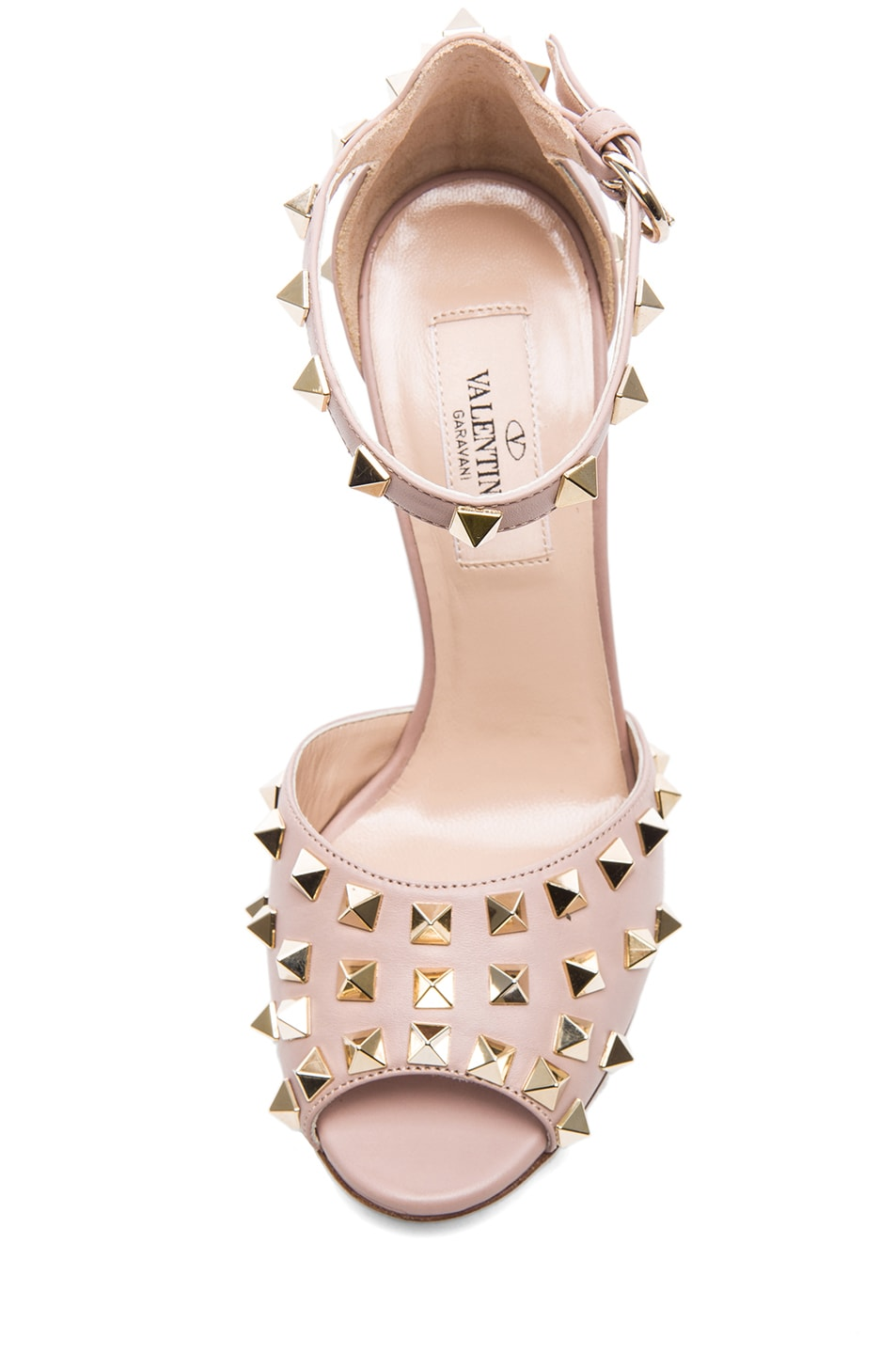 Image 4 of Valentino Rockstud Leather Sandals T.95 in Poudre