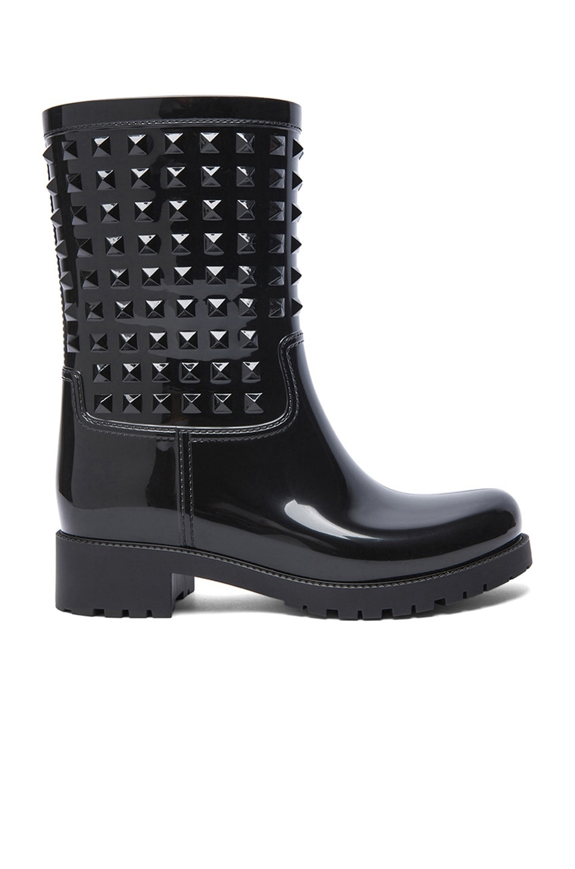 Image 1 of Valentino Rockstud PVC Rainboots in Black