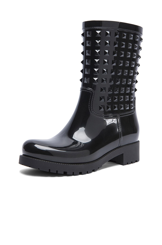 Image 2 of Valentino Rockstud PVC Rainboots in Black