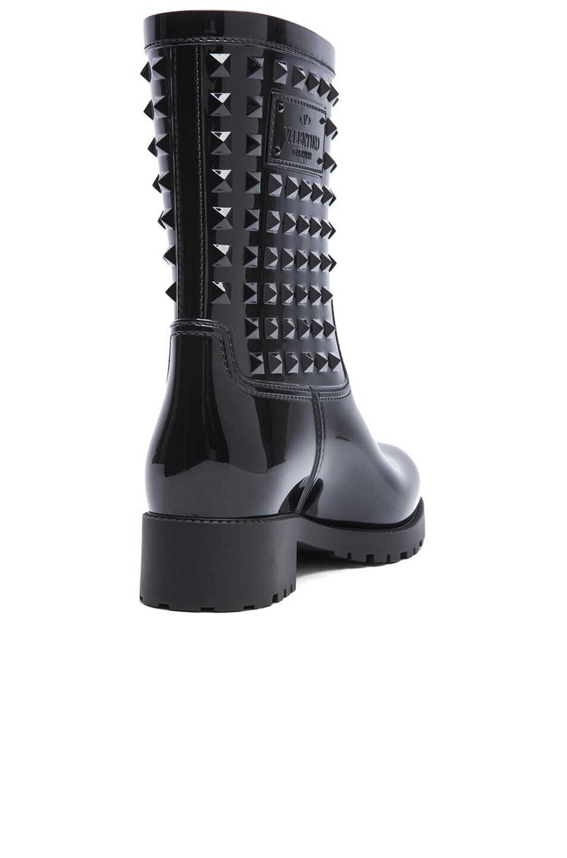 Image 3 of Valentino Rockstud PVC Rainboots in Black