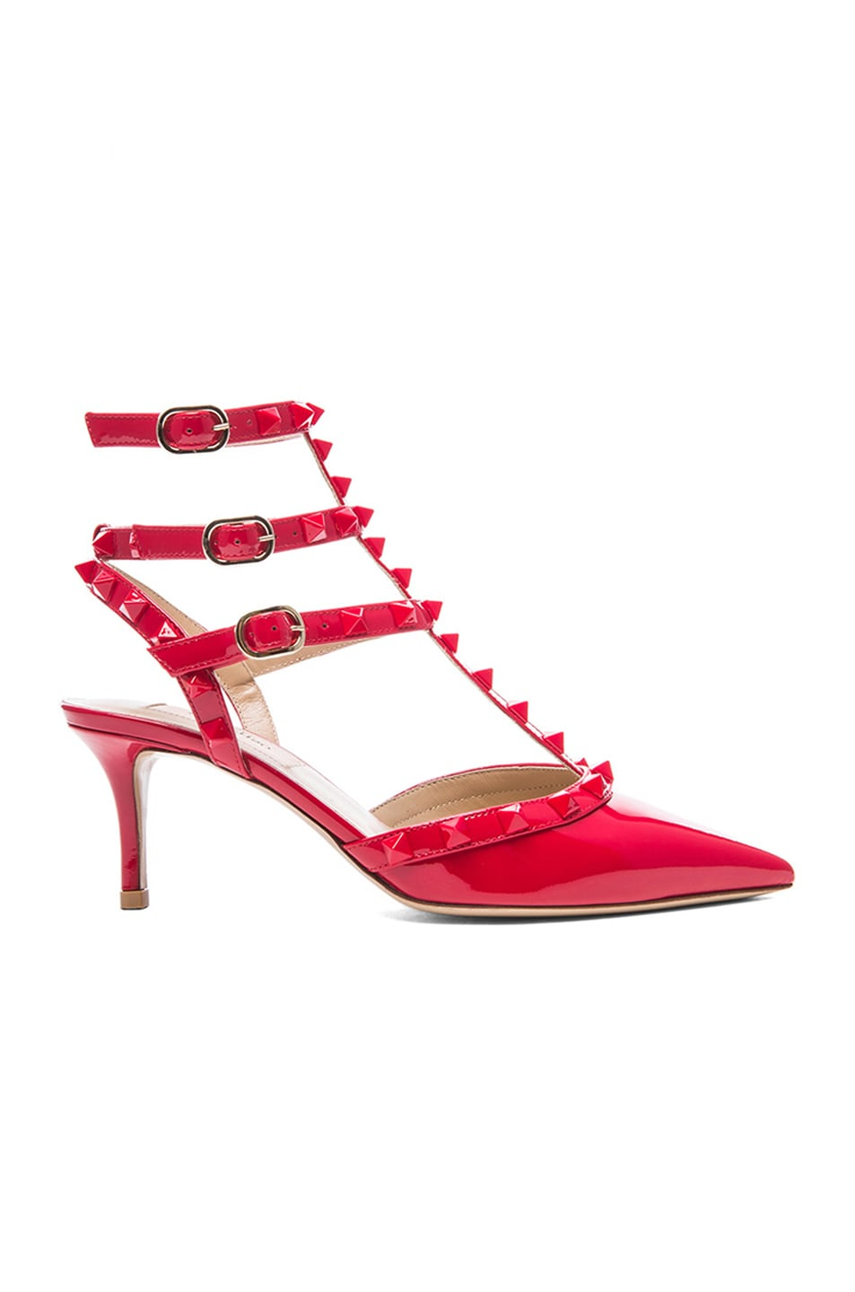 Image 1 of Valentino Rockstud Punkouture Patent Slingbacks T.65 in Red