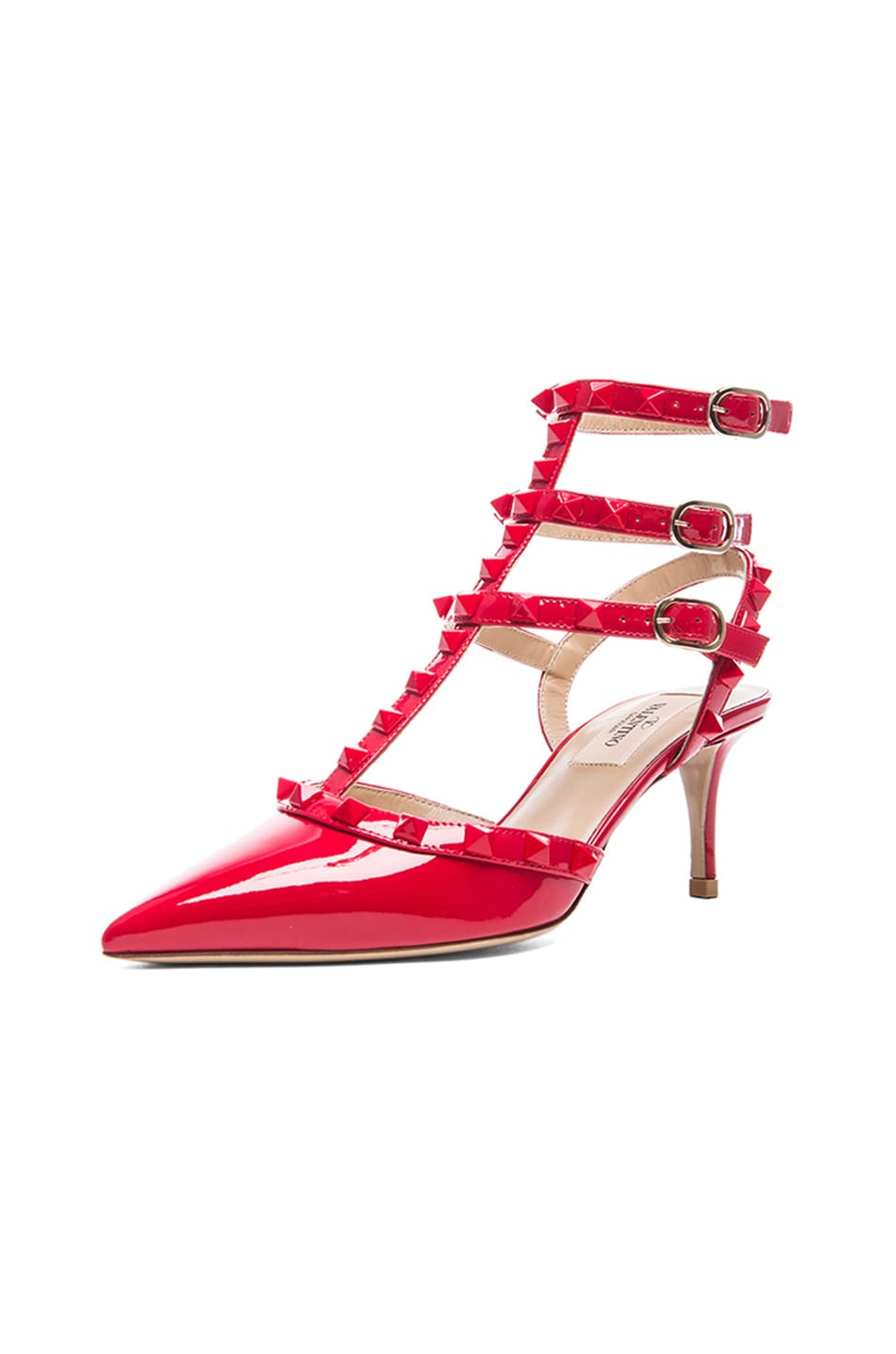 Image 2 of Valentino Rockstud Punkouture Patent Slingbacks T.65 in Red