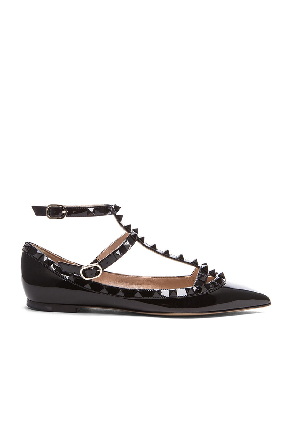 Image 1 of Valentino Rockstud Punkouture Patent Ballerina Flats in Black