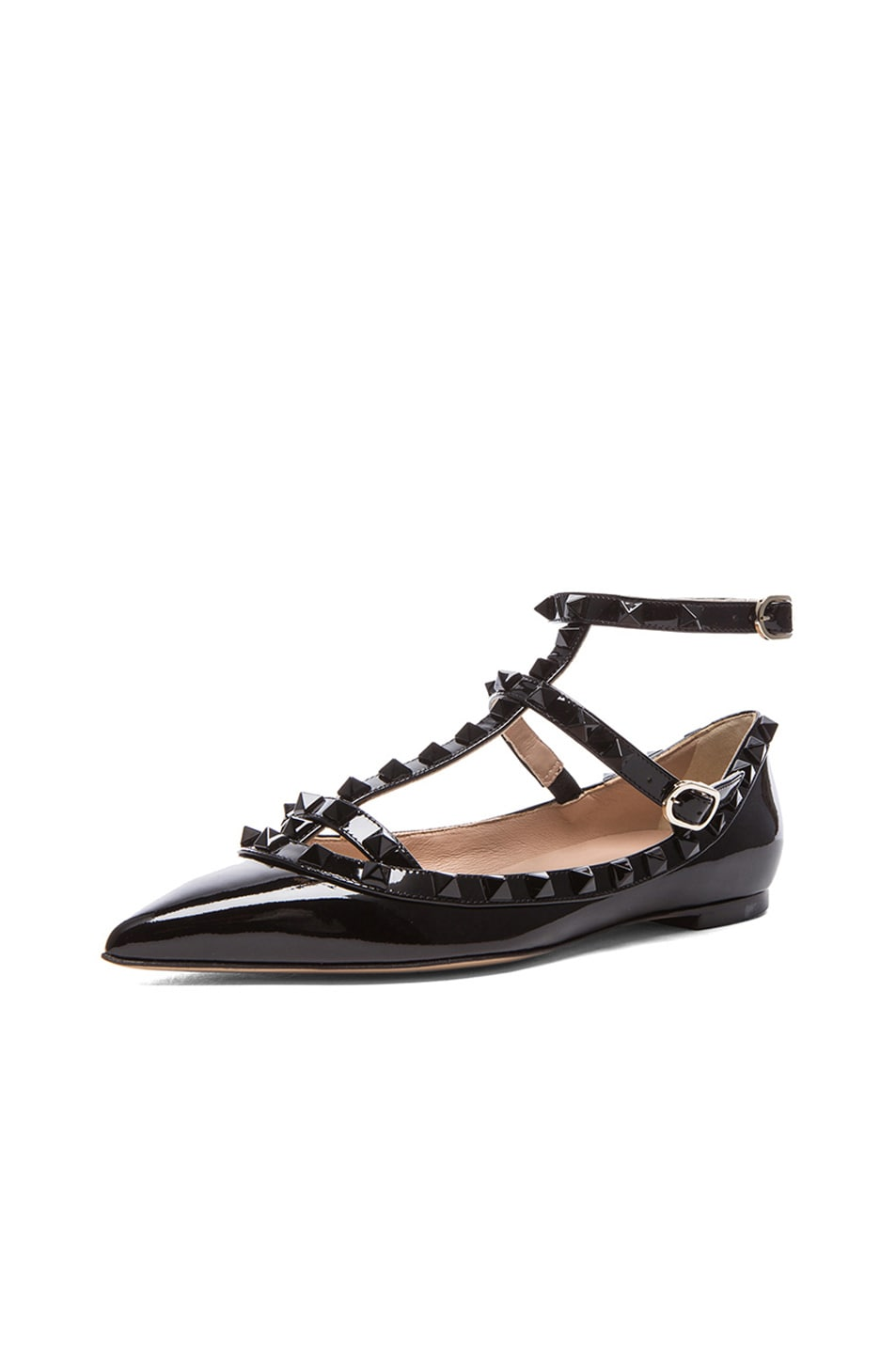Image 2 of Valentino Rockstud Punkouture Patent Ballerina Flats in Black