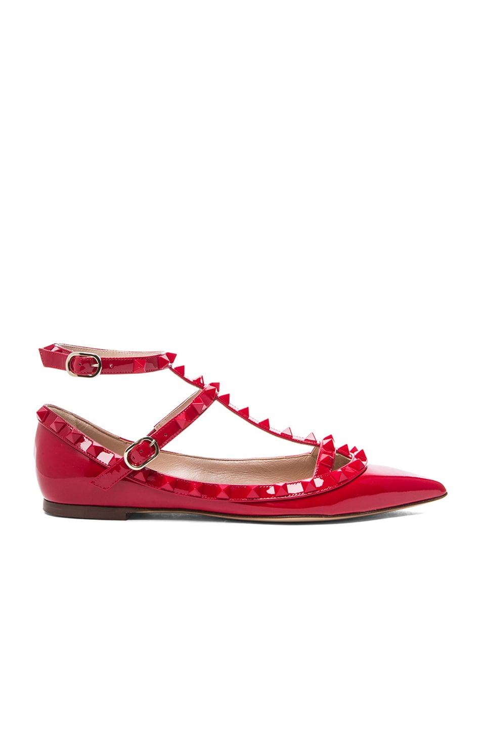 Image 1 of Valentino Rockstud Punkouture Patent Cage Flats in Red