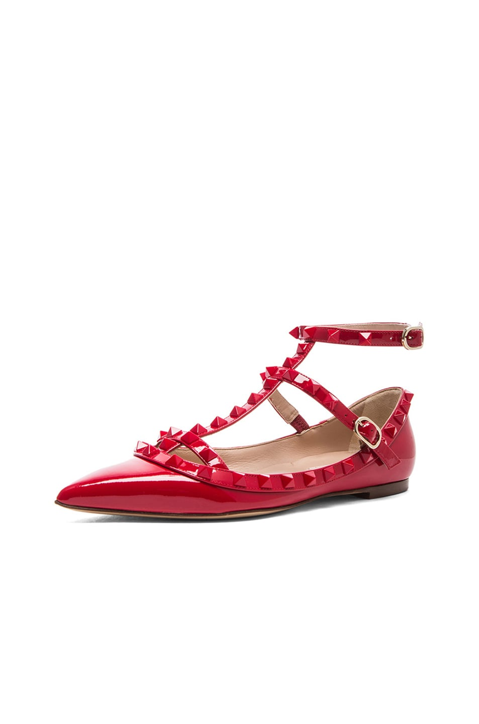 Image 2 of Valentino Rockstud Punkouture Patent Cage Flats in Red