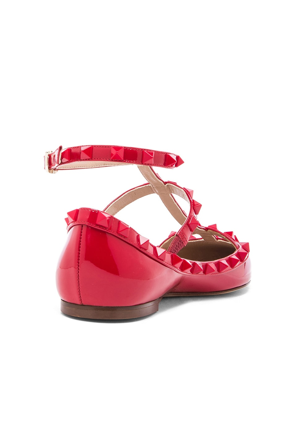 Image 3 of Valentino Rockstud Punkouture Patent Cage Flats in Red