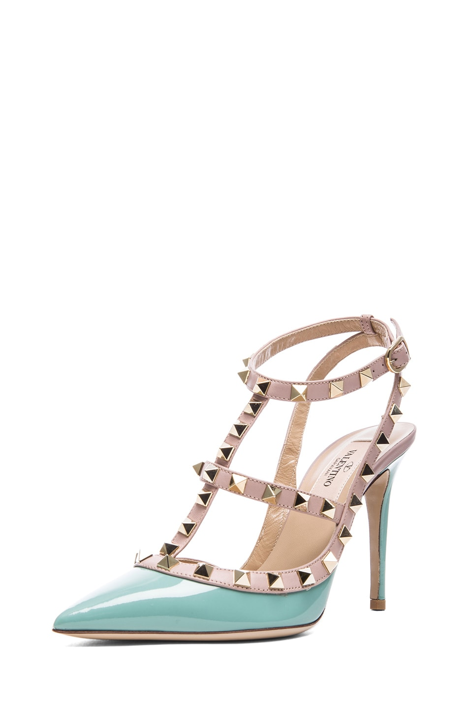 Image 2 of Valentino Rockstud Patent Leather Slingback T.100 in Dusty Sky