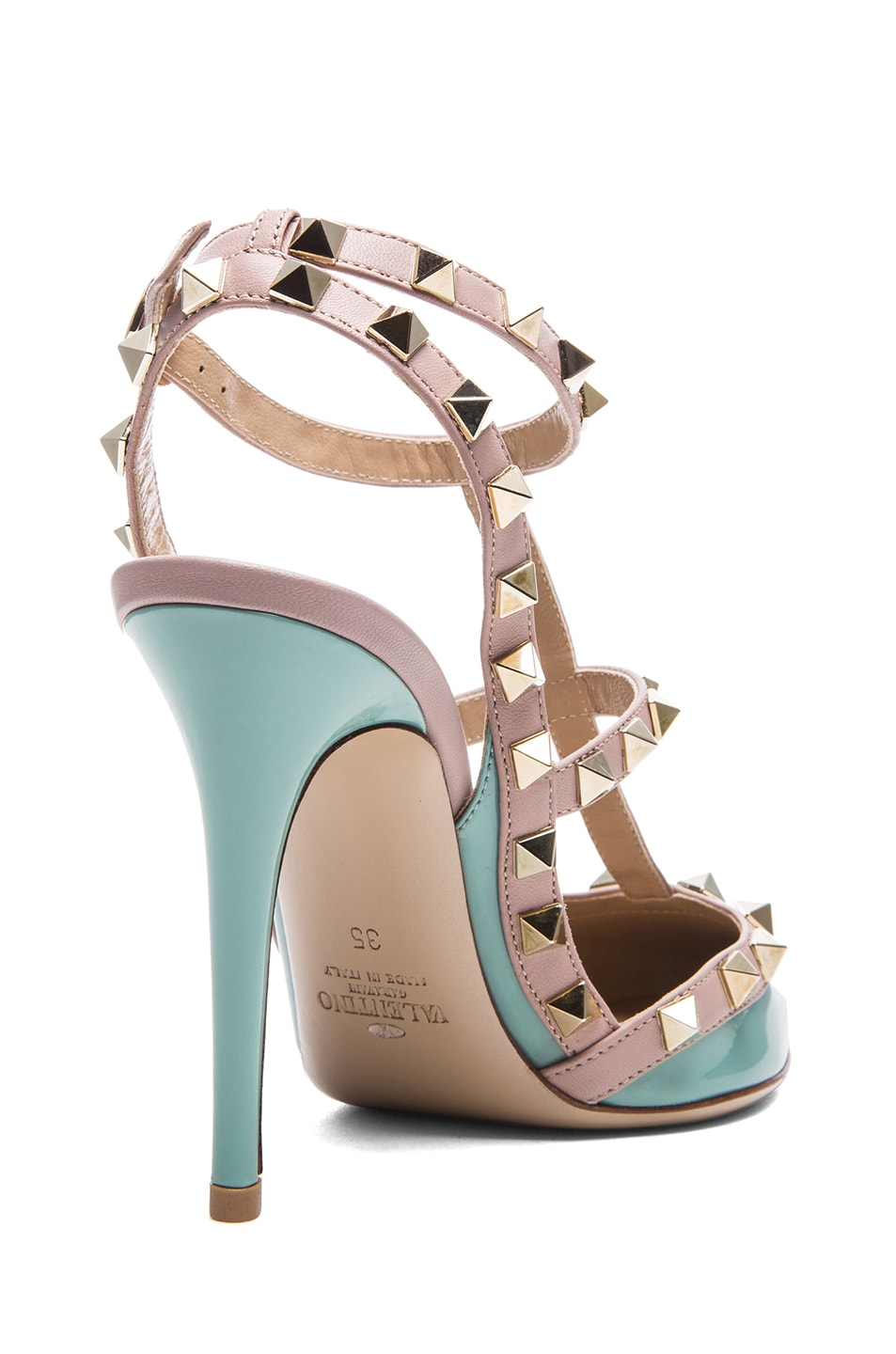 Image 3 of Valentino Rockstud Patent Leather Slingback T.100 in Dusty Sky