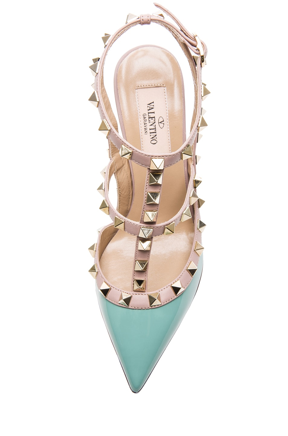 Image 4 of Valentino Rockstud Patent Leather Slingback T.100 in Dusty Sky