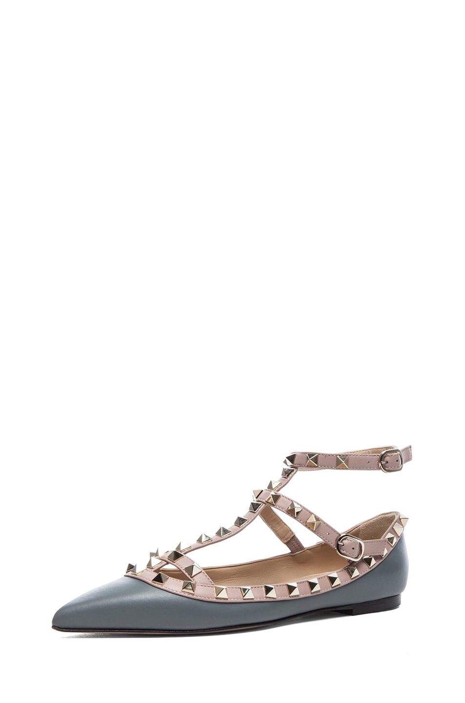 Image 2 of Valentino Rockstud Leather Ballerina Flats in Stone