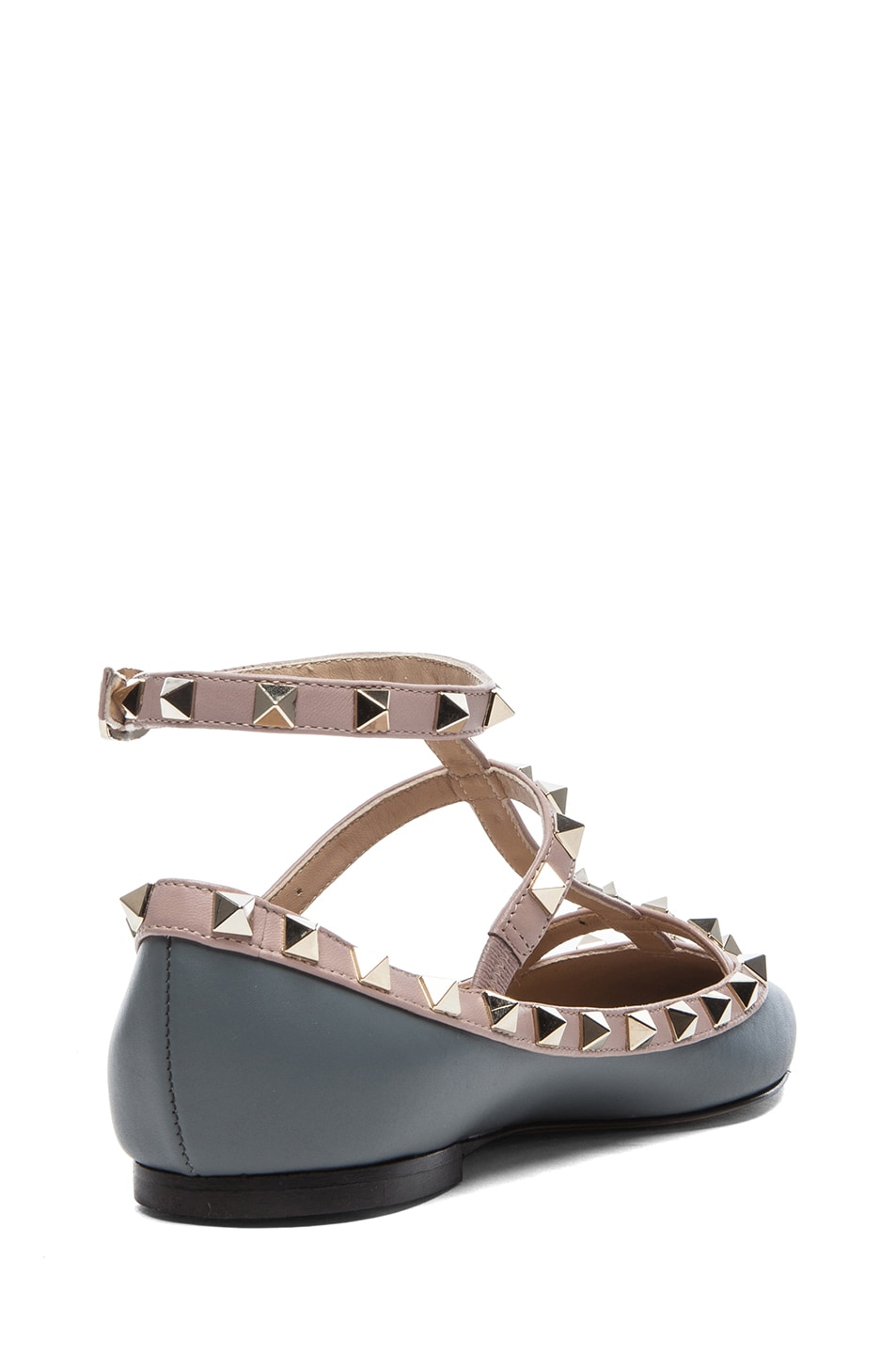 Image 3 of Valentino Rockstud Leather Ballerina Flats in Stone