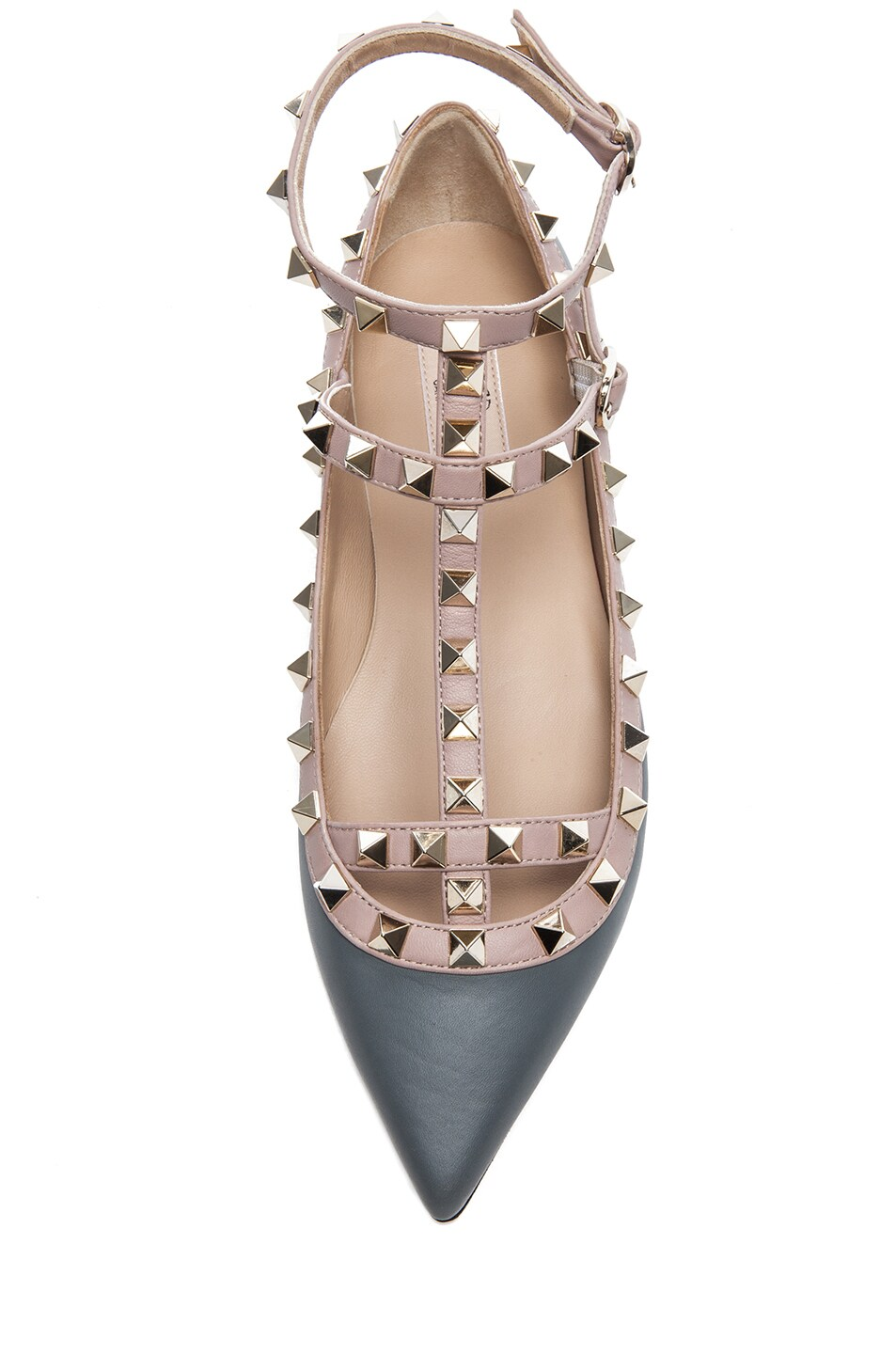 Image 4 of Valentino Rockstud Leather Ballerina Flats in Stone