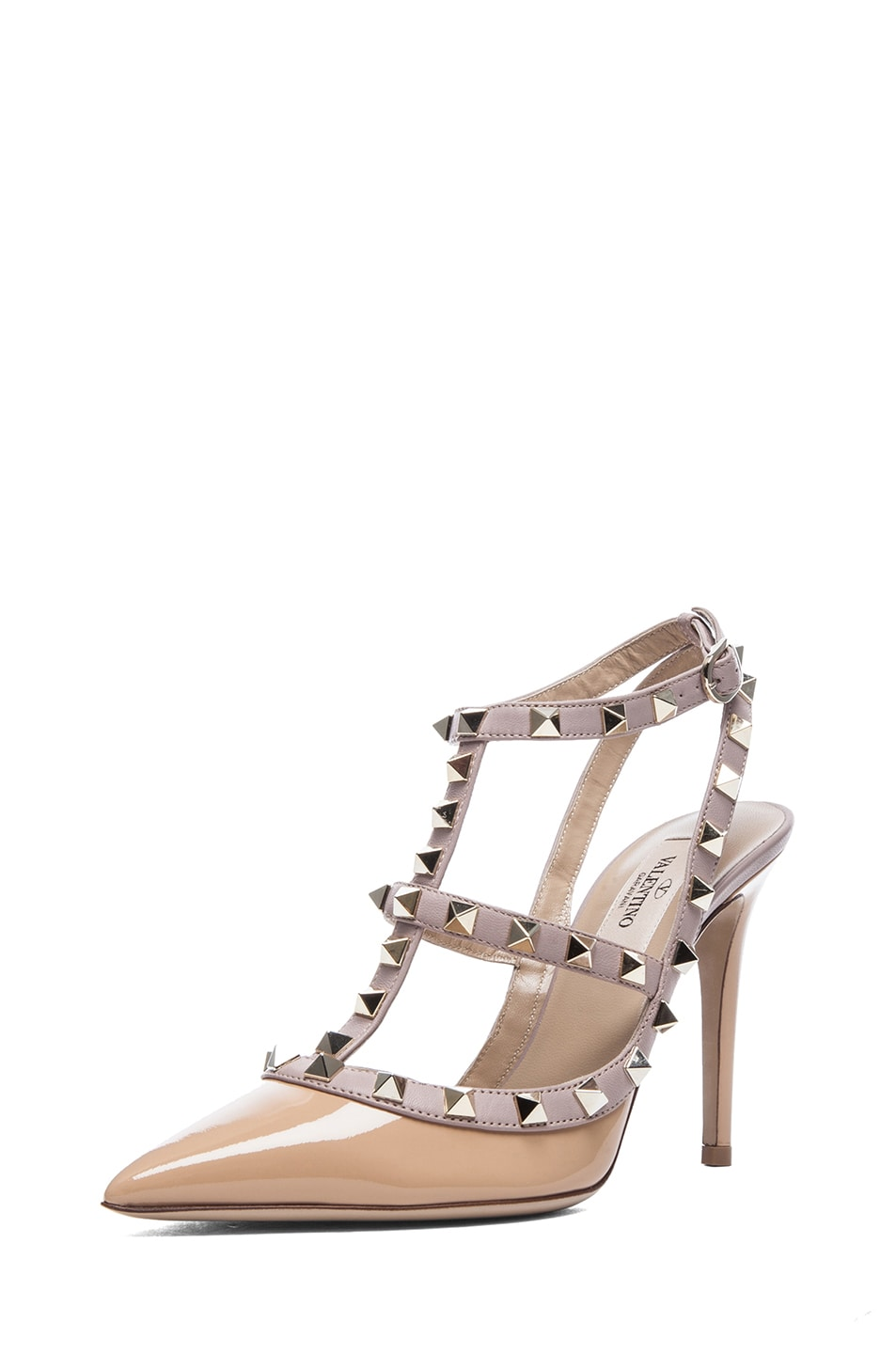 Image 2 of Valentino Rockstud Patent Slingbacks T.100 in Vicuna