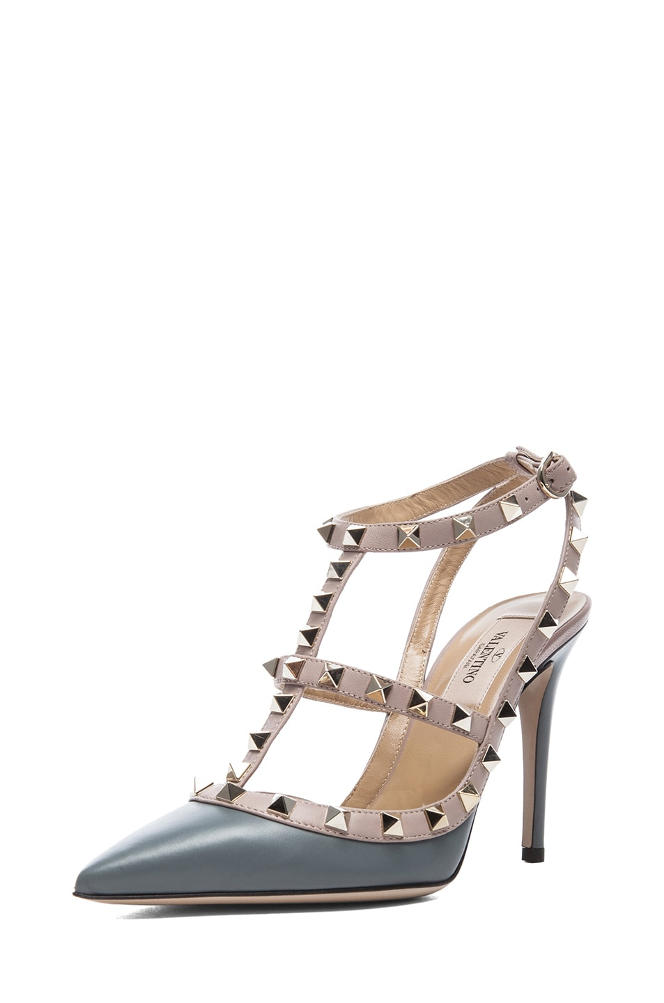 Image 2 of Valentino Rockstud Leather Slingbacks T.100 in Stone