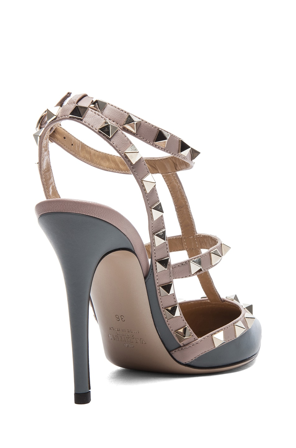 Image 3 of Valentino Rockstud Leather Slingbacks T.100 in Stone