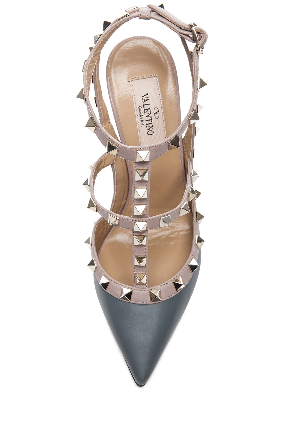 Image 4 of Valentino Rockstud Leather Slingbacks T.100 in Stone