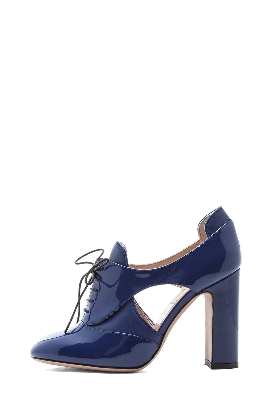 Image 1 of Valentino Tied Overlap Patent Lace Up Heels T.100 in Blue China
